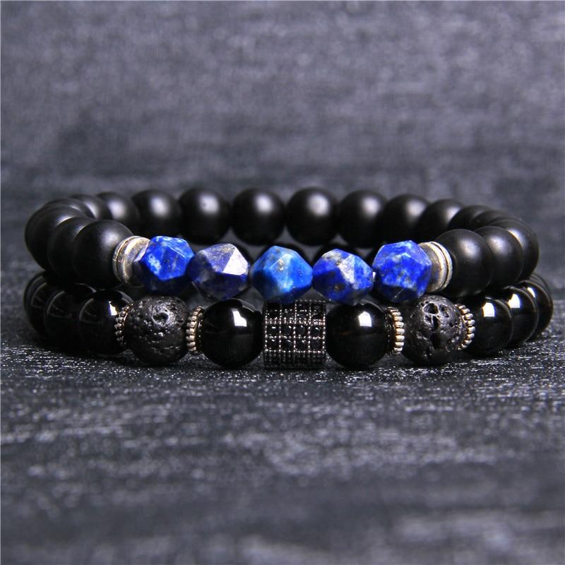 Natural stone beads Bracelet set 2pcs/set Beaded bracciali femme Friends Bracelets For Women Men Jewelry mens bileklik armband
