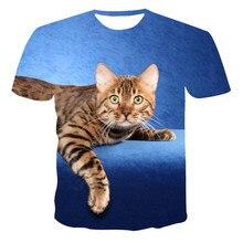 Summer Girl Cartoon Coffee CAT 3D printed T - shirt Children 's favorite Short sleeves