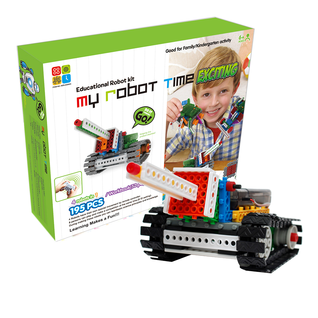 My Robot Time 4 Robots In 1 Programmable Toy Remote Control Land Robot Building Block Kit Assembly Educational Toy - 3-Exciting