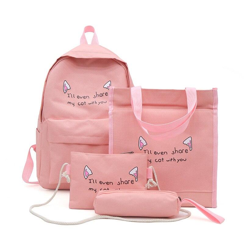 4-16 Years Orthopedic Backpack Sets 4pcs School Bags School Backpack Canvas Girls School Bags Children School Bags Children