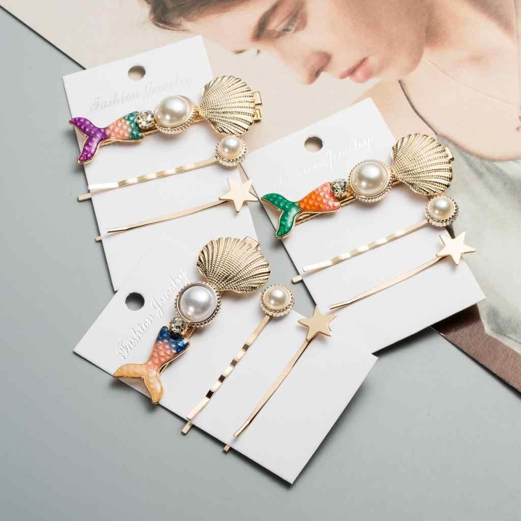 3 adet inci mermaid Barrette saç tokası kadınlar için kızlar kabuk tokalar tatlı plaj şapkalar saç aksesuarları