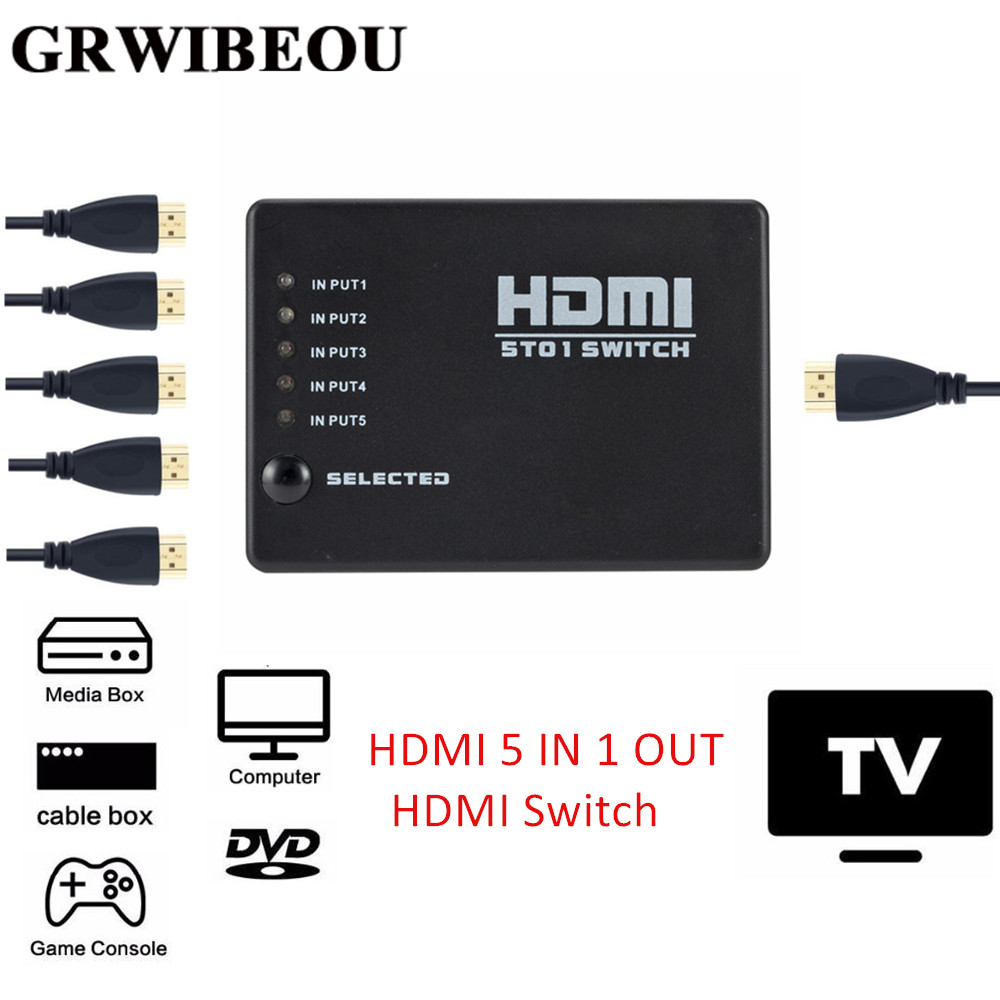 Grwibeou 5 In 1 Out 5 Port Video HDMI Switch Selector HDMI 5 IN 1 Out Switch Box Splitter Hub & IR Remote 1080p For HDTV PS3 DVD
