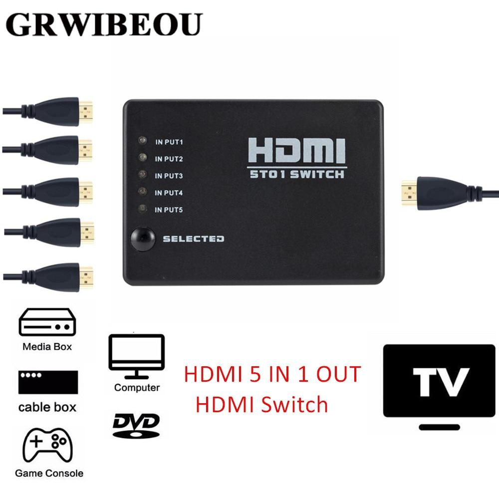 Grwibeou 5 в 1 выход 5 портов видео HDMI Переключатель Селектор HDMI 5 в 1 выход Переключатель коробка разветвитель концентратор и ИК пульт 1080p для HDTV PS3...