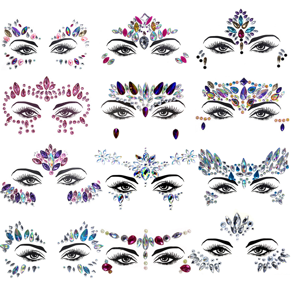 Fashion 3D Crystal Sticker Music Festival Shiny Acrylic Face Drill Sticker Masquerade Face Decoration Temporary Tattoo Sticker