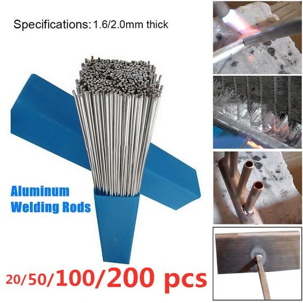 20/50/100PCs Aluminum Welding Brazing Rod 1.6/2MM Low Temperature Wire Solder Cored No Need Solder Powder Bundle Storage Box