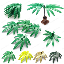 Green Plants Bricks 5x5 Leaves With Clip Building Block Moc City Garden Figures Scenes Model Assembly Gifts Diy Educational Toys