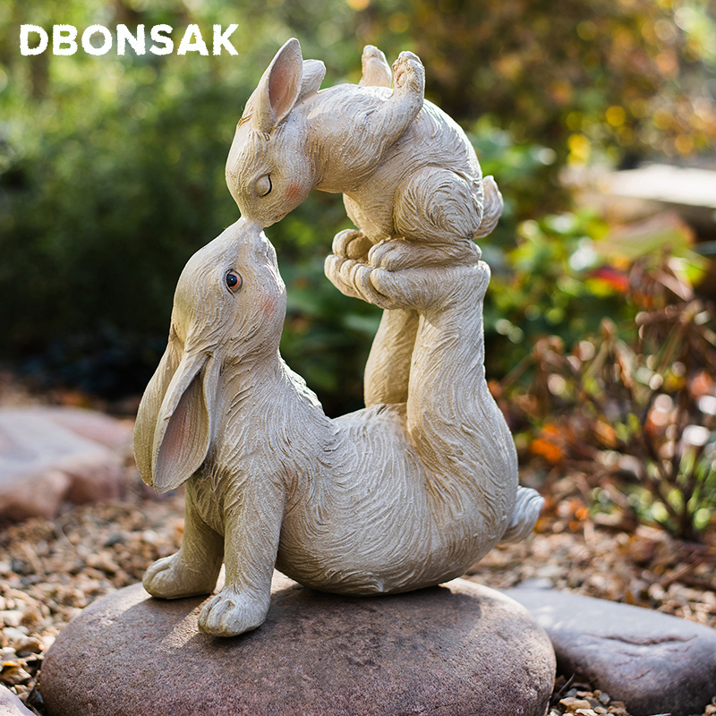 Hot Outdoor Kiss Rabbit Sculpture Animal Resin Ornaments Garden Patio Parent-child Rabbit Statue Crafts Home Desktop Decoration