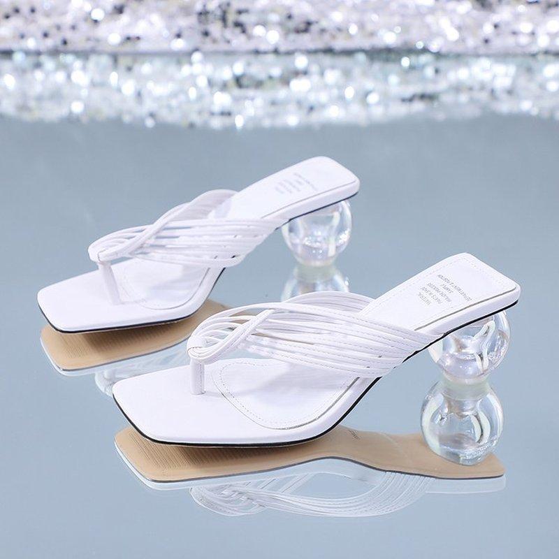 Summer Women Square Toe Slippers Flip Flop Ladies Fashion High Heels Sandals PU Leather Women's Casual Shoe Female Footwear2021