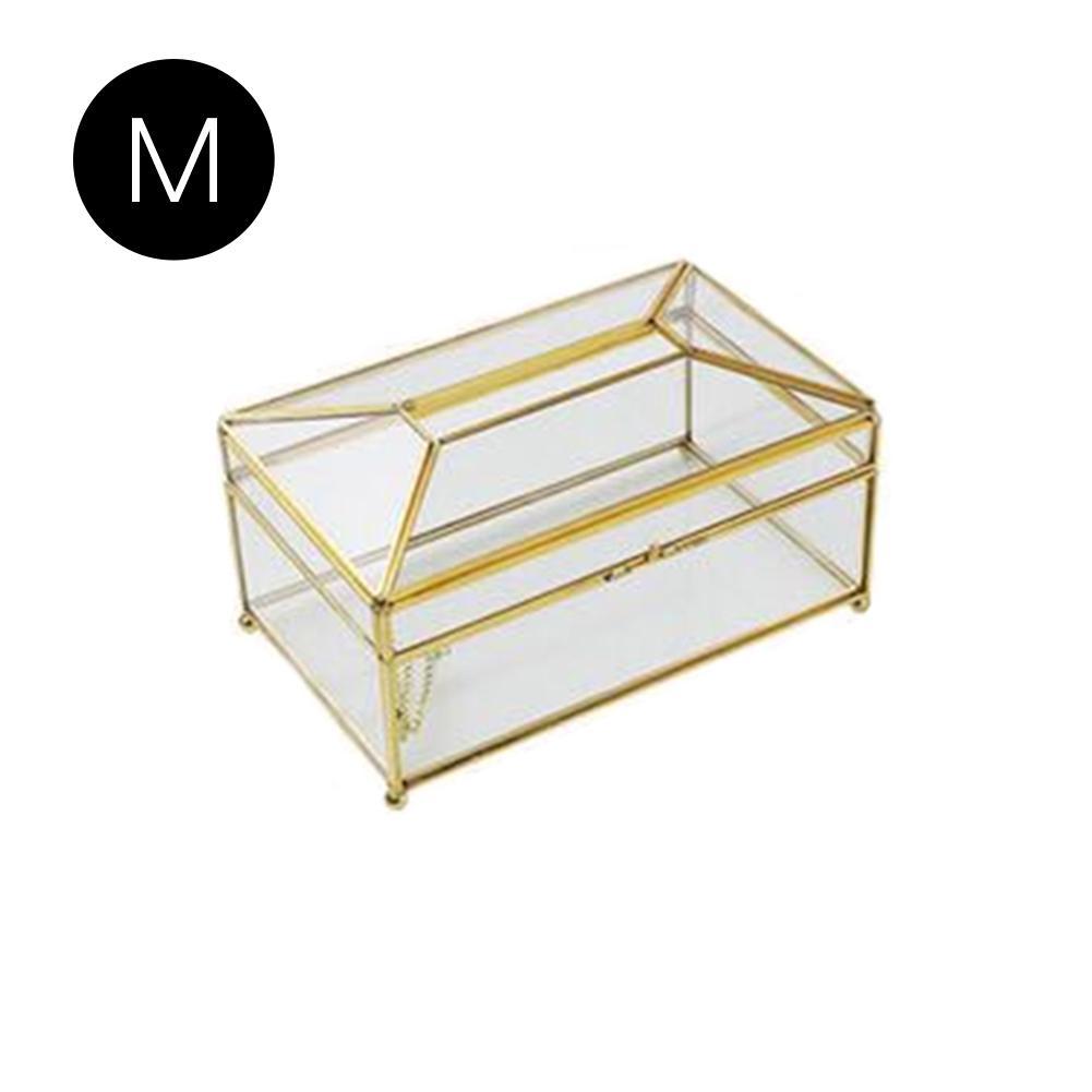 Европейская роскошная коробка для салфеток из золотого стекла для дома, гостиной, косметики, коробка для хранения салфеток с зеркальной крышкой, коробка-держатель для салфеток - Цвет: A
