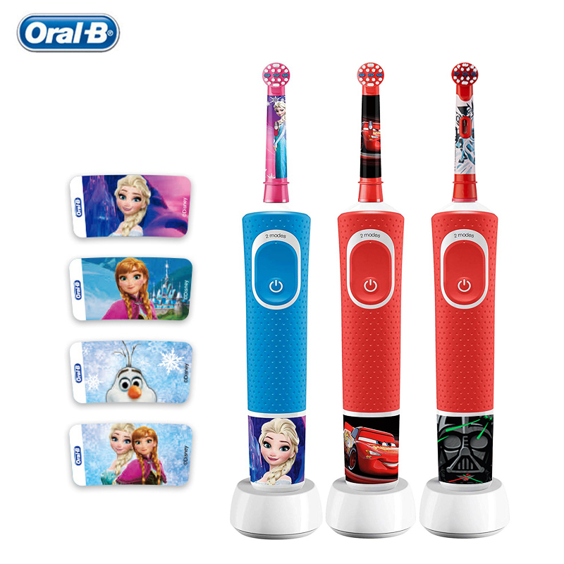 Oral B Children Recharging Electric Toothbrush 2 Modes Waterproof Gum Care Safety Sensitive Teeth Brush Heads for Kids Ages 3+