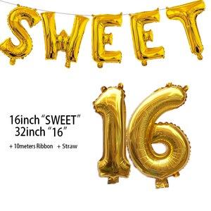 Image 5 - الحلو 16 زينة حفلات لوازم ستة عشر زينة عيد الميلاد 16 سنة عيد ميلاد عدد احباط بالونات