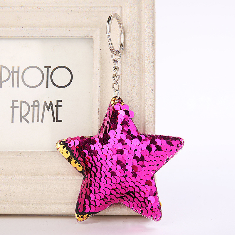 Five-pointed Star Sequin Keychain Glitter Pompom Sequins Key Chain Gifts For Women Car Bag Accessories Key Ring FPJYS40