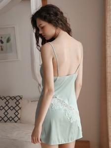Image 3 - Summer Sexy Nightgown for Women Hollow Lace Seduction Ice Silk Nightwear SleepwearLingerie Slits Nightdress V neck Nightie