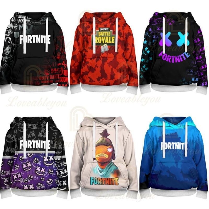 Men and Women Fortnite Kids Hoodie Victory Hero Sweatshirt Battle Royale Tops Boys Girls Cartoon Clothes