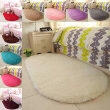 Tapete macio oval lavável tapetes de almofada de assento de lã peluda tapetes quentes macios para o assoalho da sala estar
