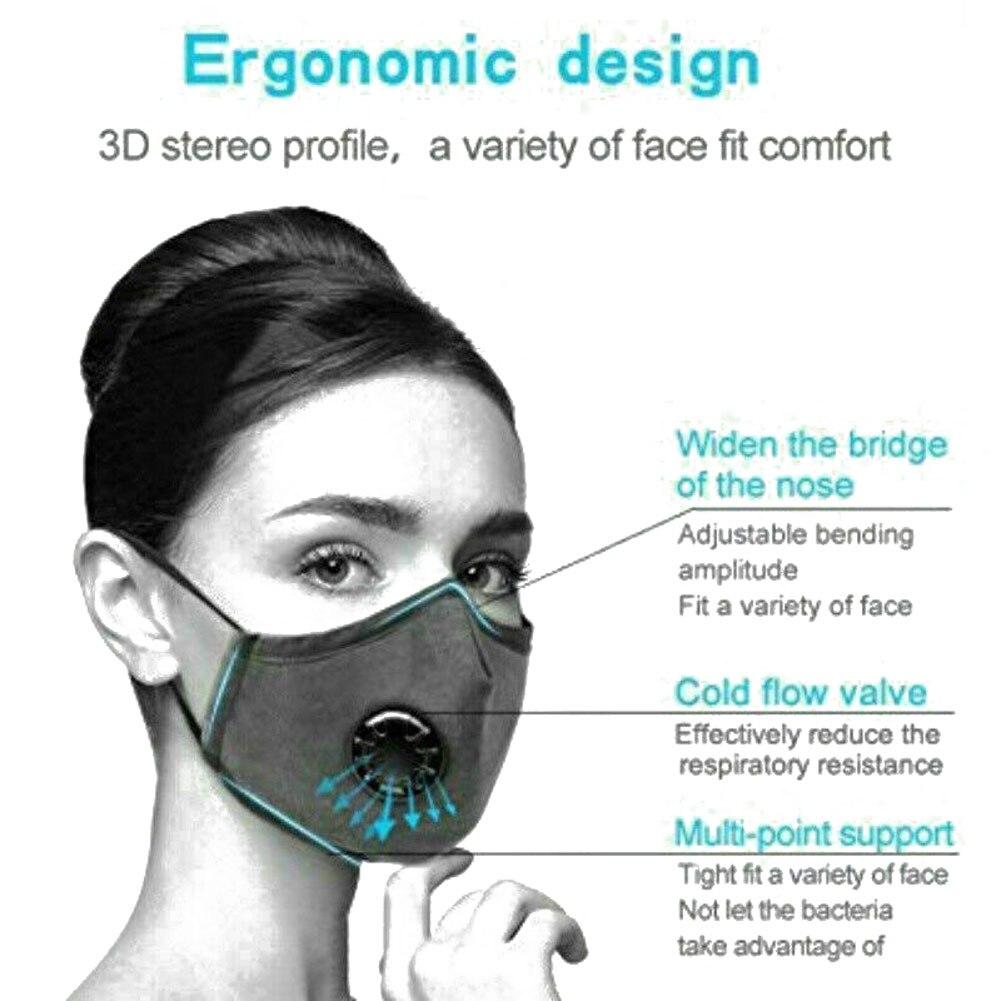 PM2.5 респиратор маски для лица дымка анти загрязнения воздуха многоразовая Пылезащитная маска 2 фильтра легко дышит смываемая маска для лица...