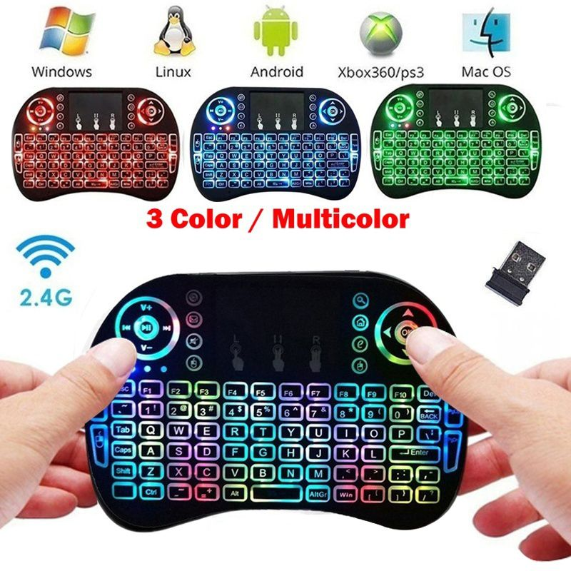 <font><b>I8</b></font> 2.4GHz Mini Wireless Portable Combo Three Backlight Gaming Touchpad <font><b>Keyboard</b></font> Mouse Multimedia Game Remote Control <font><b>Keyboard</b></font> image