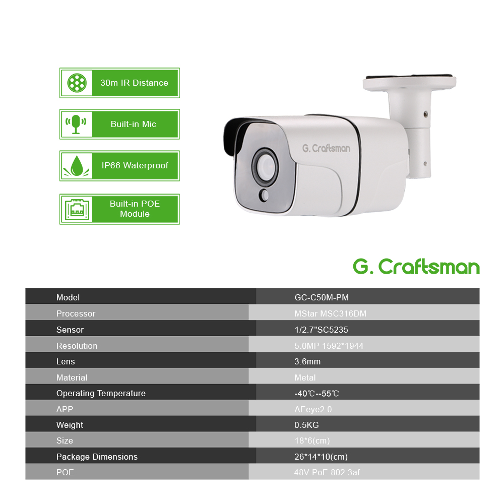 Image 2 - 4ch 5MP Audio POE Kit H.265 System CCTV Security NVR Outdoor Waterproof IP Camera Surveillance Alarm Video Record G.Craftsman-in Surveillance System from Security & Protection