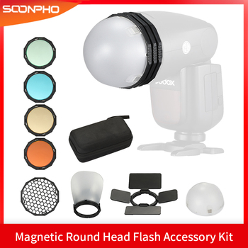 TRIOPO Magnetic Round Head Flash Accessory Kit Barn Door Color Filter Reflector Honeycomb Diffuser For Godox V1 TRIOPO R1 F1-200 image
