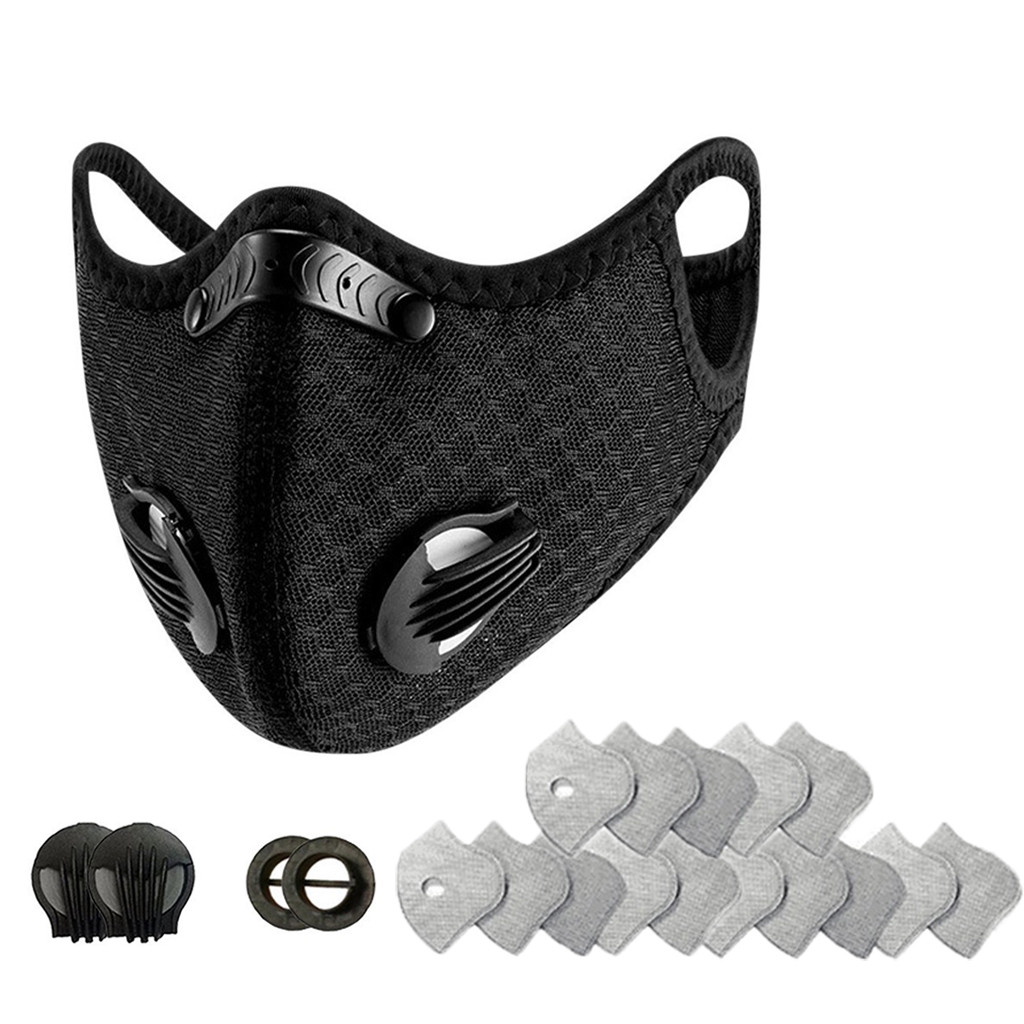 In Stock Facemask Cycling Dust With 15 Filters 2 Exhaust Valves Half Face Reusable Sport Bike Innrech Market.com
