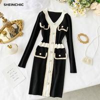 Autumn 2019 New European Style Women Mini Dress Elegant Long Sleeve White Black Knitted Dress Vintage Patchwork Dress Vestidos