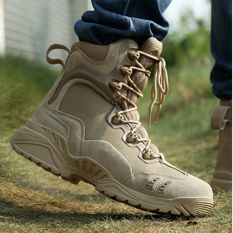 High Quality Men Military Tactical Boots High Top Waterproof Hiking Combat Boots Army Desert Side Zip Outdoor Work Leather Boots