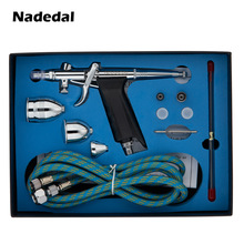 Nasedal 0.3/0.5/0.8 Mm Dubbele Action Gravity Feed Spuitpistool NT-116B 2cc 5cc 13cc Airbrush Set Spray model Air Brush