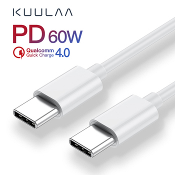 KUULAA-USB Fast Charge Data Cable Fast Charge 60W White Data Cable Type-c Male To Male PD Fast Charge Cable Support Wholesale apple mjwt2zm a usb c charge cable 2 м white