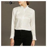 Silviye Stand collar silk cotton white shirt women's silk fashion long sleeve westernized top 2020 spring blouse