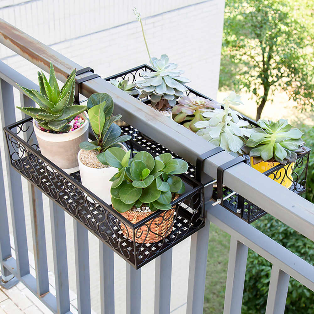 New Flower Pot Stand Storage Rack Deck Rail Flowerpot Railing Shelf Balcony Rail Planter Shelf Fence Railing Flower Pots Holder
