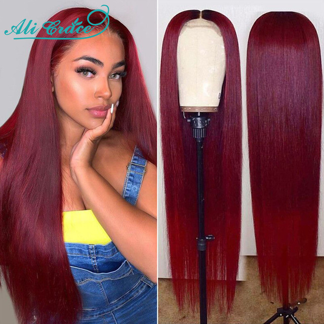 Ali Grace 99J Lace Front Wig Pre-plucked Brazilian Straight Closure Wig 4×4 Lace Closure Human Hair Wigs with Baby Hair 99J Wig