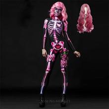 Розовый Скелет Хэллоуин косплей комбинезон парик Женский страшный костюм жуткий нарядное платье День мертвых Мумия ужас карнавальные Вечерние