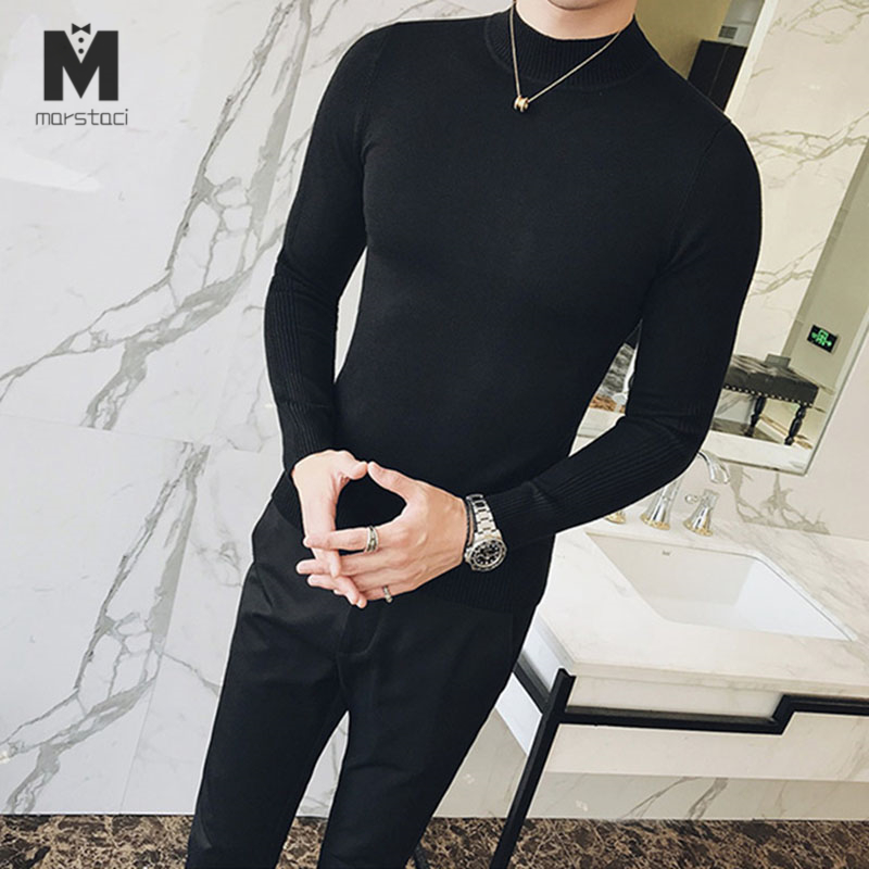 2019 Autumn New Men's Turtleneck Sweaters Pullover Male Solid Color Slim Fit Turtleneck Sweater Tops Knitted Pullovers M-3XL