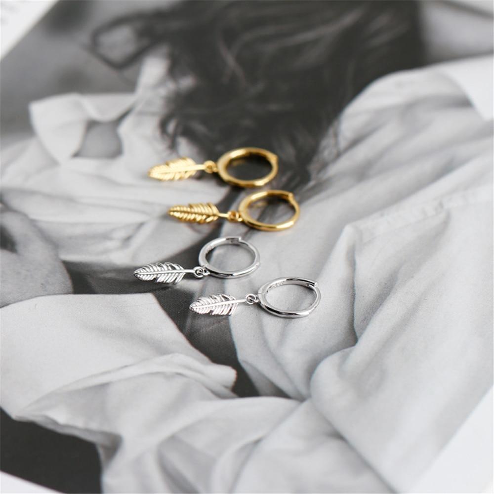 ANDYWEN 925 Sterling Silver 8.5mm Leafs Drop Earring Pendientes Piercing Europeans Luxury Rock Punk Women Round Ring Jewelry