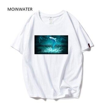 Camisetas con patrón de ballena de dibujos animados para mujeres MOINWATER 2019 nueva camiseta de verano de algodón para mujeres de manga corta Camisetas y camisetas MT19107