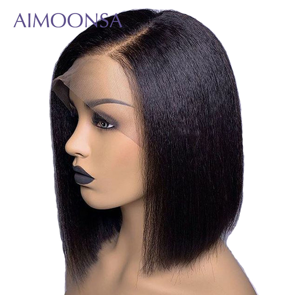 Yaki Human Hair Wig Short Bob Yaki Straight Lace Front Human Hair Wigs With Baby Hair 13x6 Deep Part Lace Front Wigs Remy