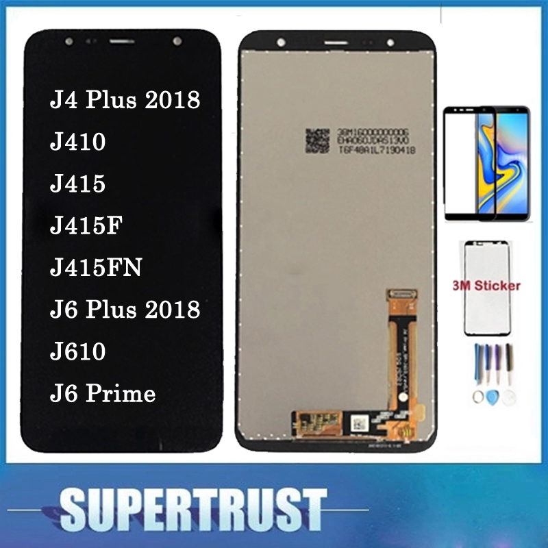 With Tempered Glass For Samsung Galaxy J4+ 2018 J4 Plus J415 J415F J410 J6 Plus 2018 J610 J6 Prime LCD Display Touch Screen