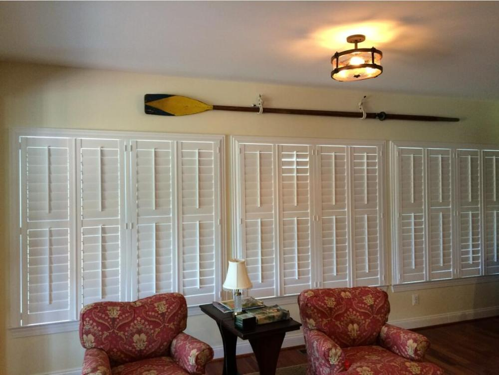 Custom Basswood Plantation Shutters Wooden Blinds Solid Wood Shutter Louvers PS244