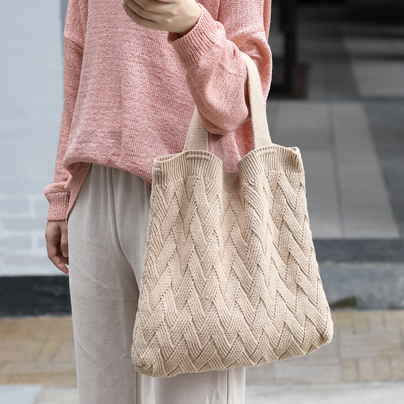 Personalised Twist Knitting Tote Bag Women Fall&winter New Arrival Top-handle Bag For Shopping Bag Teenager Casual Daily Tote