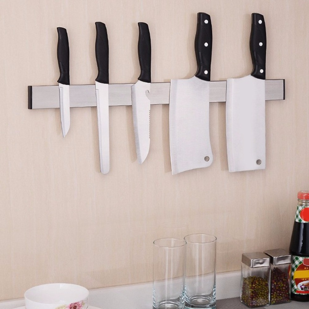 HOT Magnetic Self-adhesive Knife Holder Stand Stainless Steel Block Wall Mounted Easy Storage Knife Rack Strip For Kitchen