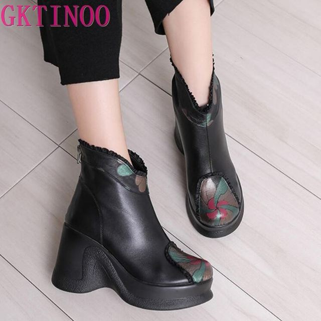 GKTINOO 2020 Boots Women Comfortable Autumn Genuine Leather Ankle Boots for Women Soft Wedges Platform Shoes Ladies