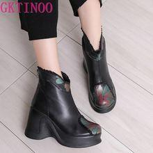 GKTINOO 2020 Stiefel Frauen Komfortable Herbst Echtem Leder Stiefeletten für Frauen Weiche Keile Plattform Schuhe Damen