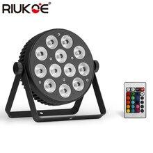 RIUKOE 2 шт./лот мини плоский тонкий Dj LED Par вечерние светильники 12x8 Вт алюминиевый корпус ИК-пульт DMX сценическое освещение Свадебная дискотека