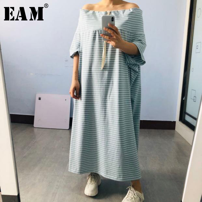 [EAM] Women Striped Split Big Size Long Dress New Slash Neck Three-quarter Sleeve Loose Fit Fashion Spring Summer  2020 1T203