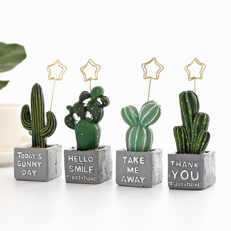 1PCS Cute Cactus Plant Figurines Miniatures Fairy Garden Gnome Moss Terrarium Message Folder Photo Holder Clip Gift