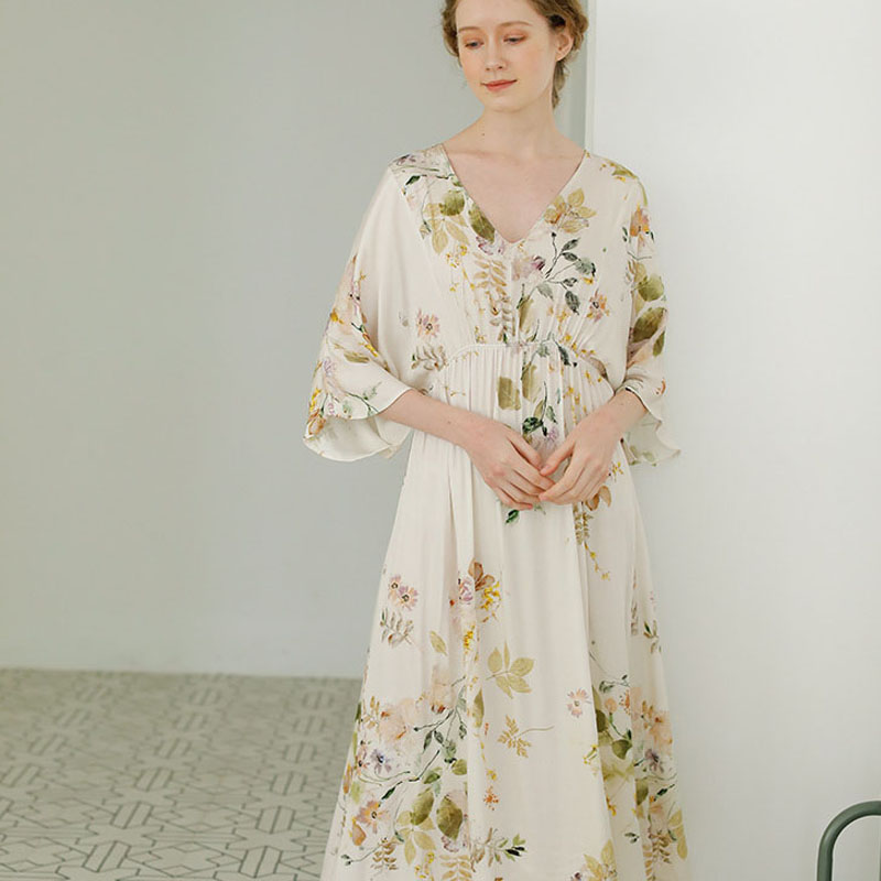 Summer Women's Nightdress Sexy V-neck Elegant Leaves Print Female Sleepwear Home Wear Night Dress Women Sleepwear Nightgown 1