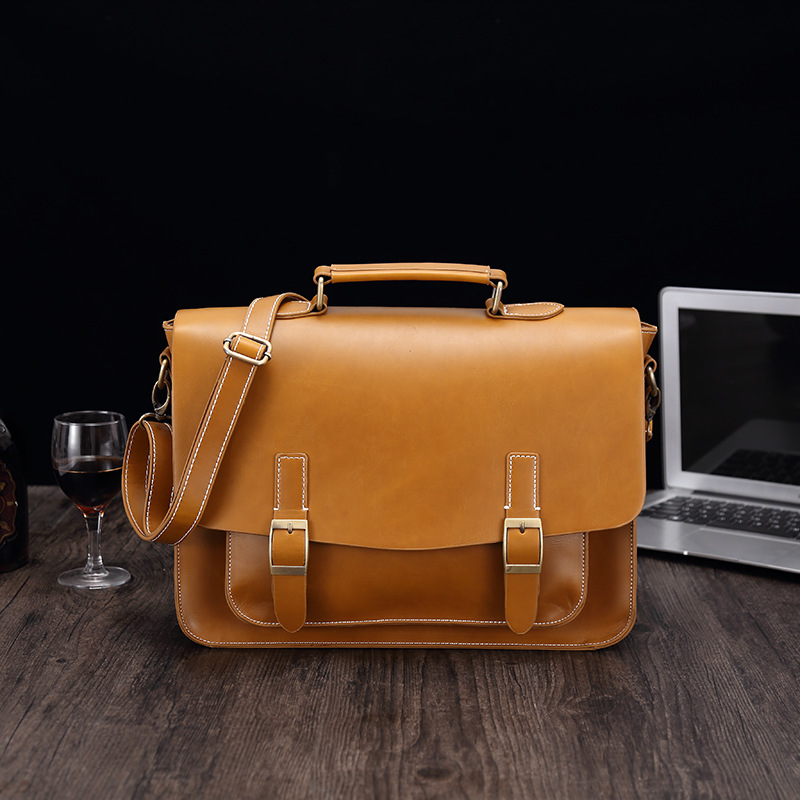 LAOKSI Business Men Bag Double Belt Decor Brand OL Leather Men Briefcase Bag Lawyer Doucument Bag Maletines Para Hombres