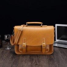 LAOKSI Business Men Bag Double Belt Decor Brand OL Leather