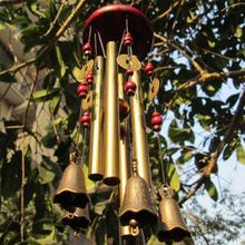 Amazing Chinese Traditional Wind Chime 4 Pipes 5 Bells and Bronze Windchime Wood Base for Outdoor Patio, Garden and Home Decor