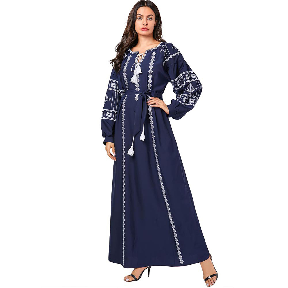Muslim Dress Islamic Maxi Abaya Embroidery Dubai A-line Long Dresses Women Spring Ankle Length Plus Size Moroccan Kaftan 2020